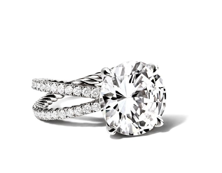 The Crossover engagement ring, set with a patented David Yurman signature cut diamond, was created by Yurman for his wife, Sybil, as a symbol of their love and life of collaboration and design.