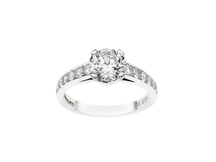 Garrard engagement ring set with a a patented eternal-cut diamond.
