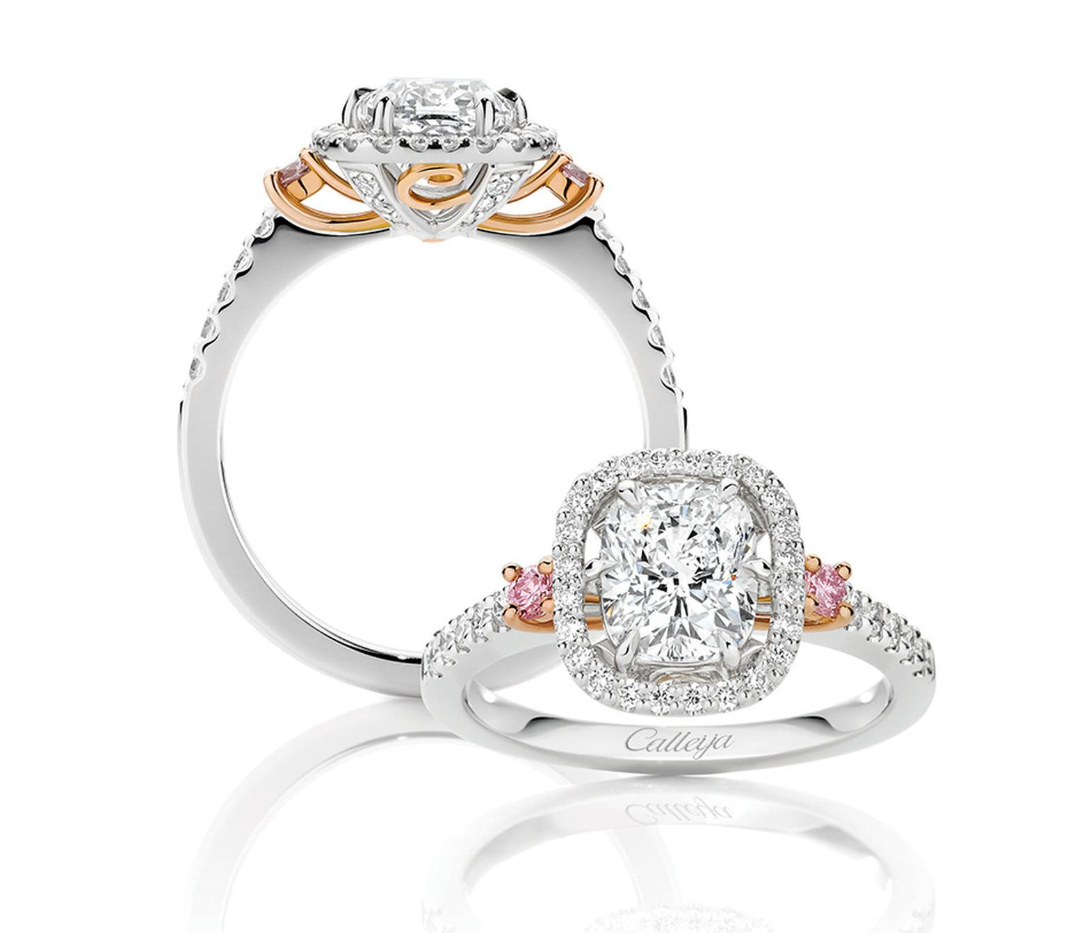 John Calleija patented signature-cut 1.50ct Glacier diamond engagement ring, flanked by pink diamonds.