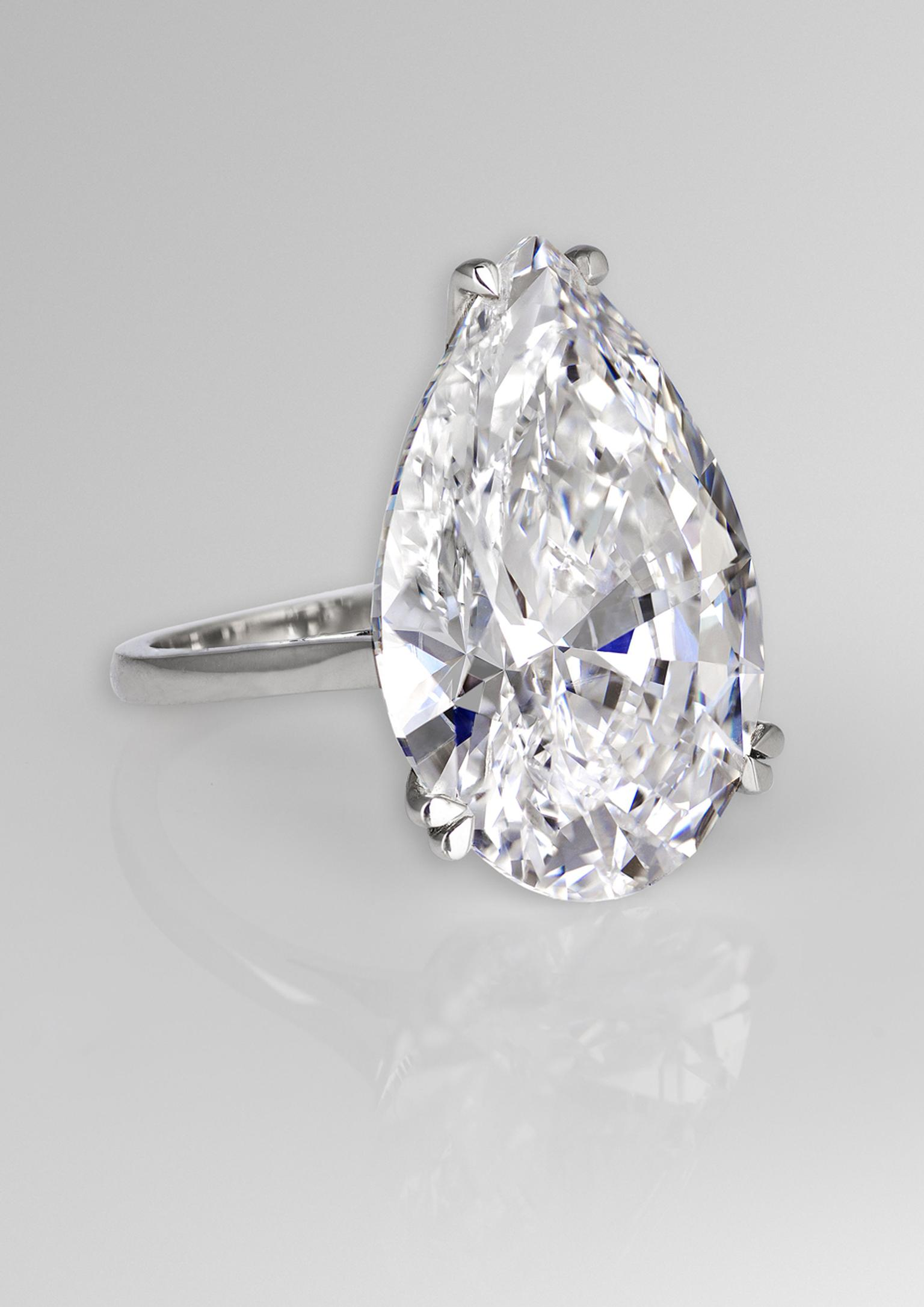 David Morris 22.22ct pear-cut diamond engagement ring.
