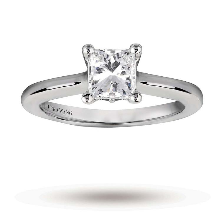 Vera Wang princess-cut diamond engagement ring.