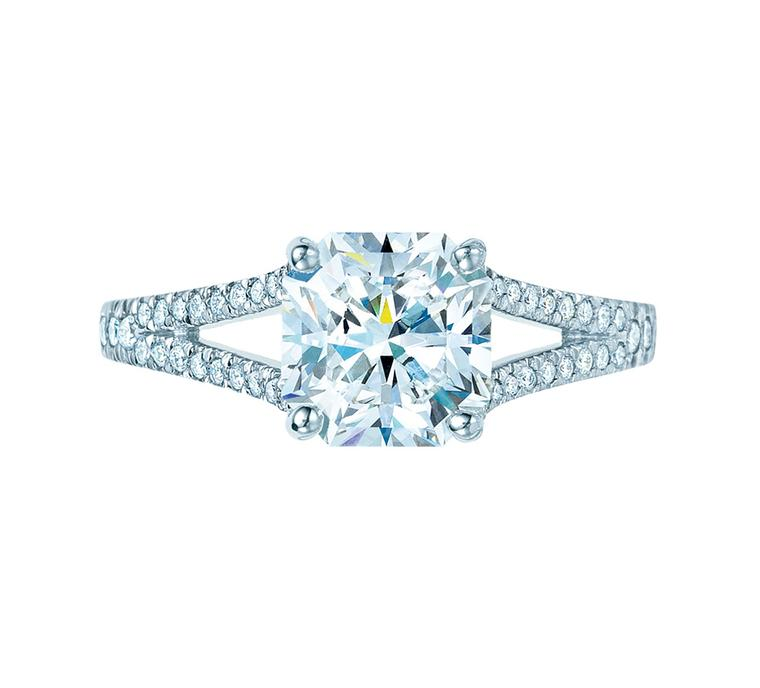 Tiffany & Co. diamond engagement ring featuring a central diamond in its signature Lucida cut.