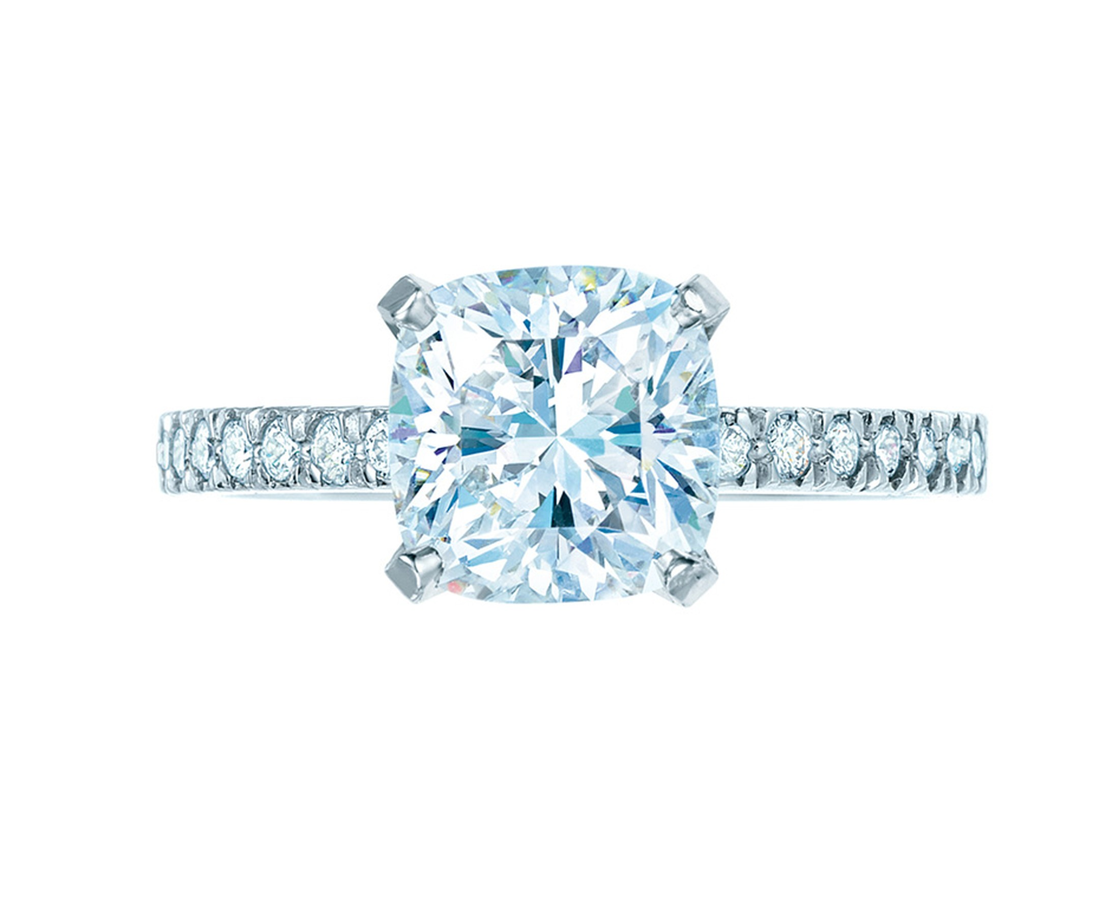 Tiffany & Co. showcases its signature Novo cut in this stunning diamond engagement ring.