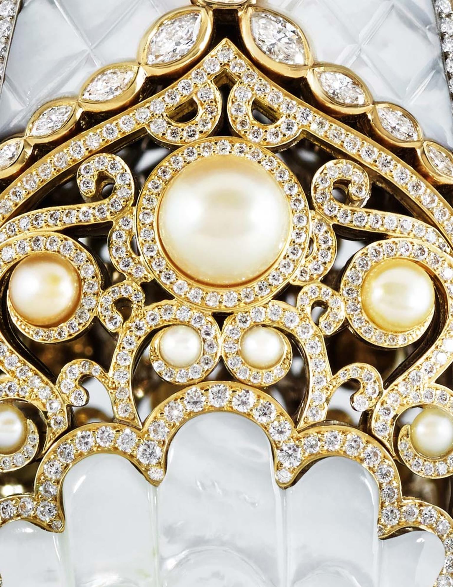The Fabergé Pearl Egg, which was unveiled at the DJWE, draws inspiration from the formation of a pearl within an oyster. The egg's painstakingly crafted, mother-of-pearl exterior opens to reveal a unique grey pearl, sourced from the Arabian Gulf.