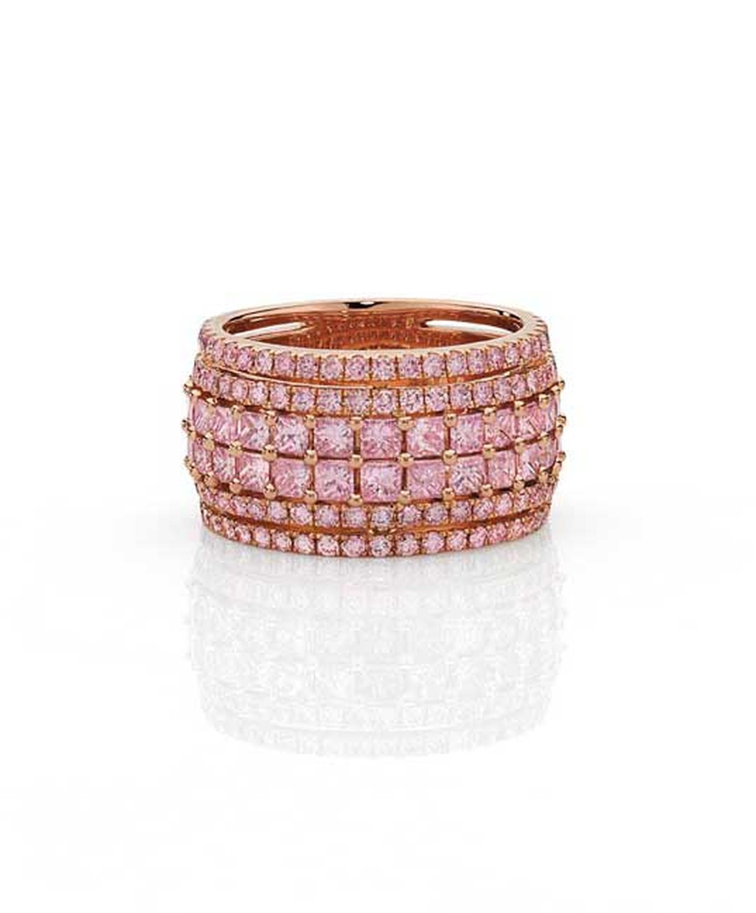 Cerrone pink diamond ring in rose gold, set with princess cut and round brilliant Argyle pink diamonds, available at www.cerrone.com.au.
