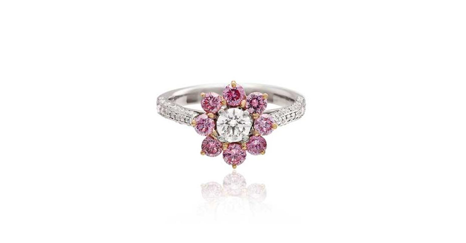 Linneys Argyle pink diamond ring in platinum and rose gold with white diamonds, available at www.linneys.com.au.