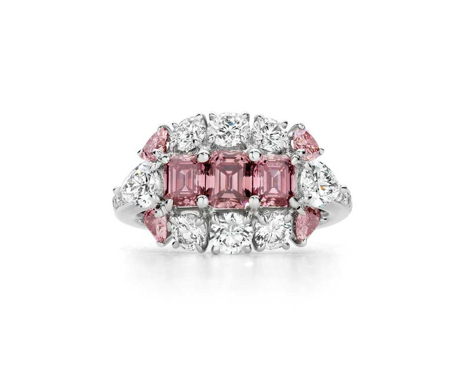 J. Farren-Price Trilogy ring, set with a trio of step-cut Argyle pink diamonds, available at www.jfarrenprice.com.au.