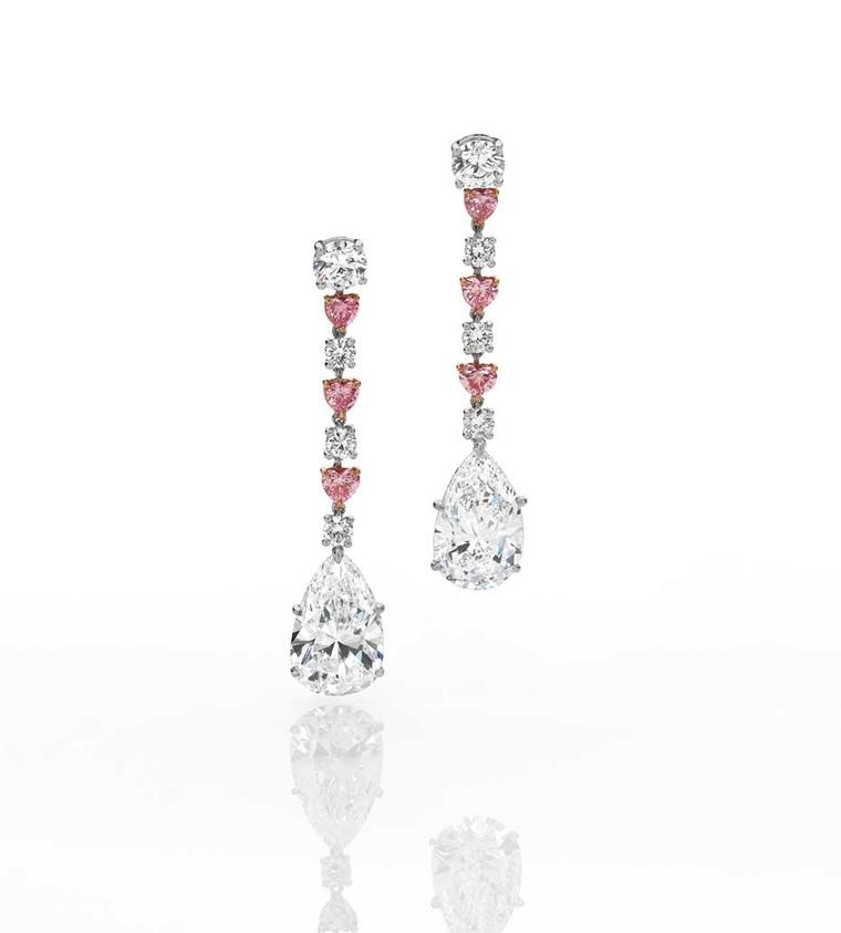 Cerrone diamond drop earrings in white and rose gold with pear-shaped white diamonds and Argyle pink diamonds.