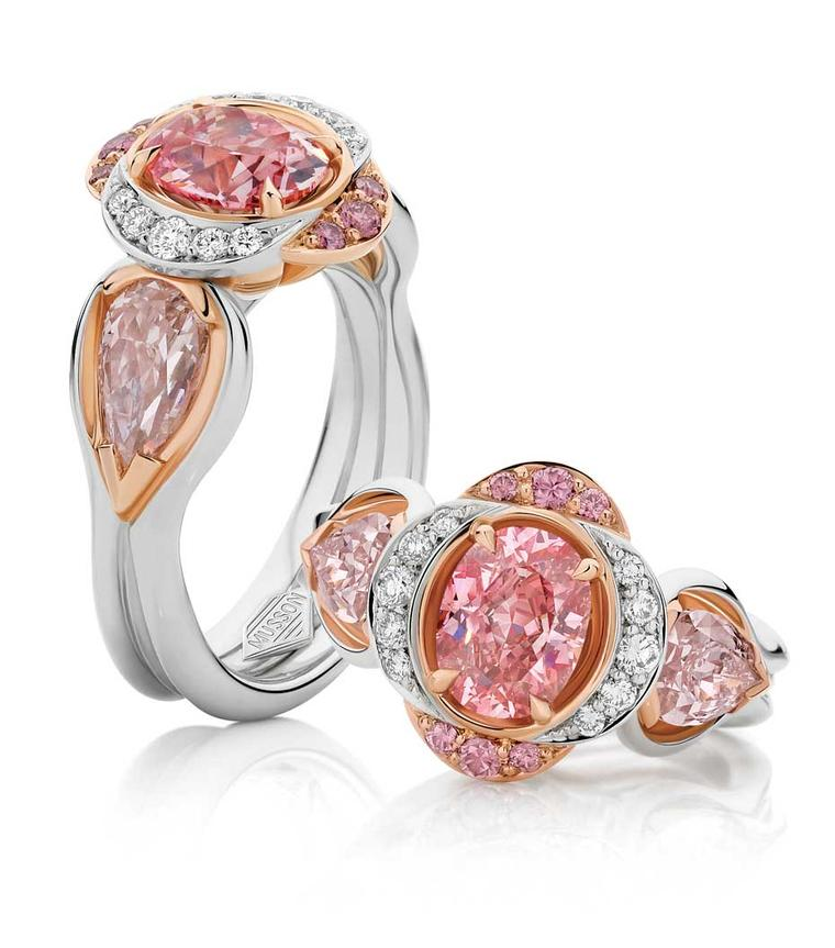 Musson's Lowanna pink diamond ring ring is set with a 1.27ct Fancy Vivid Argyle pink diamond, complemented by a pair of 1.78ct blush pink diamond shoulders set in a white and rose gold bespoke Musson design. Available at www.musson.com.au.