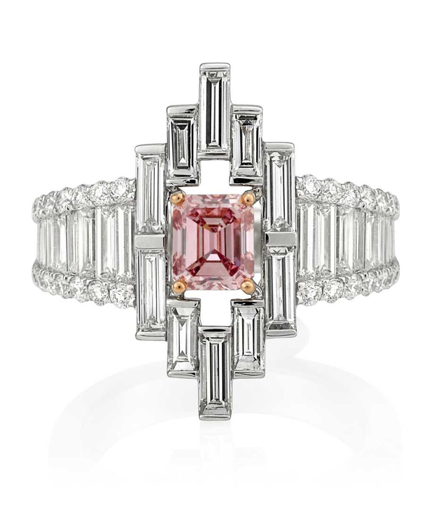 Mondial Pink Diamond Atelier Cathedral pink diamond ring in platinum featuring an emerald-cut 0.83ct natural Argyle pink diamond, available at www.mondial.com.au.