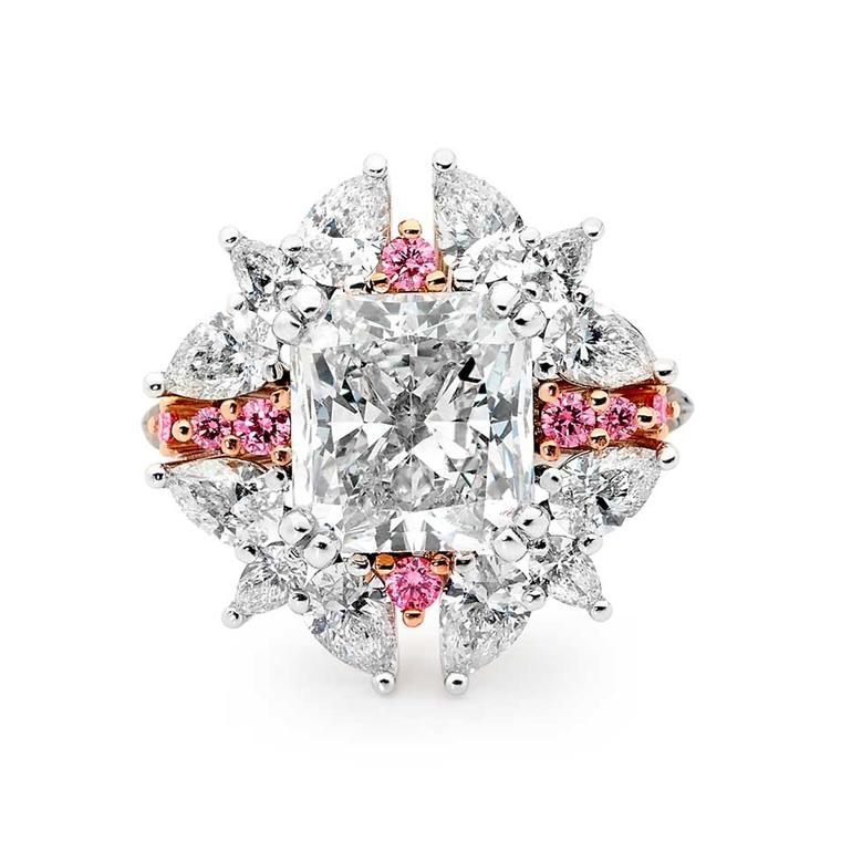 Linneys Argyle pink diamond ring in white and rose gold with white diamonds, available at www.linneys.com.au.
