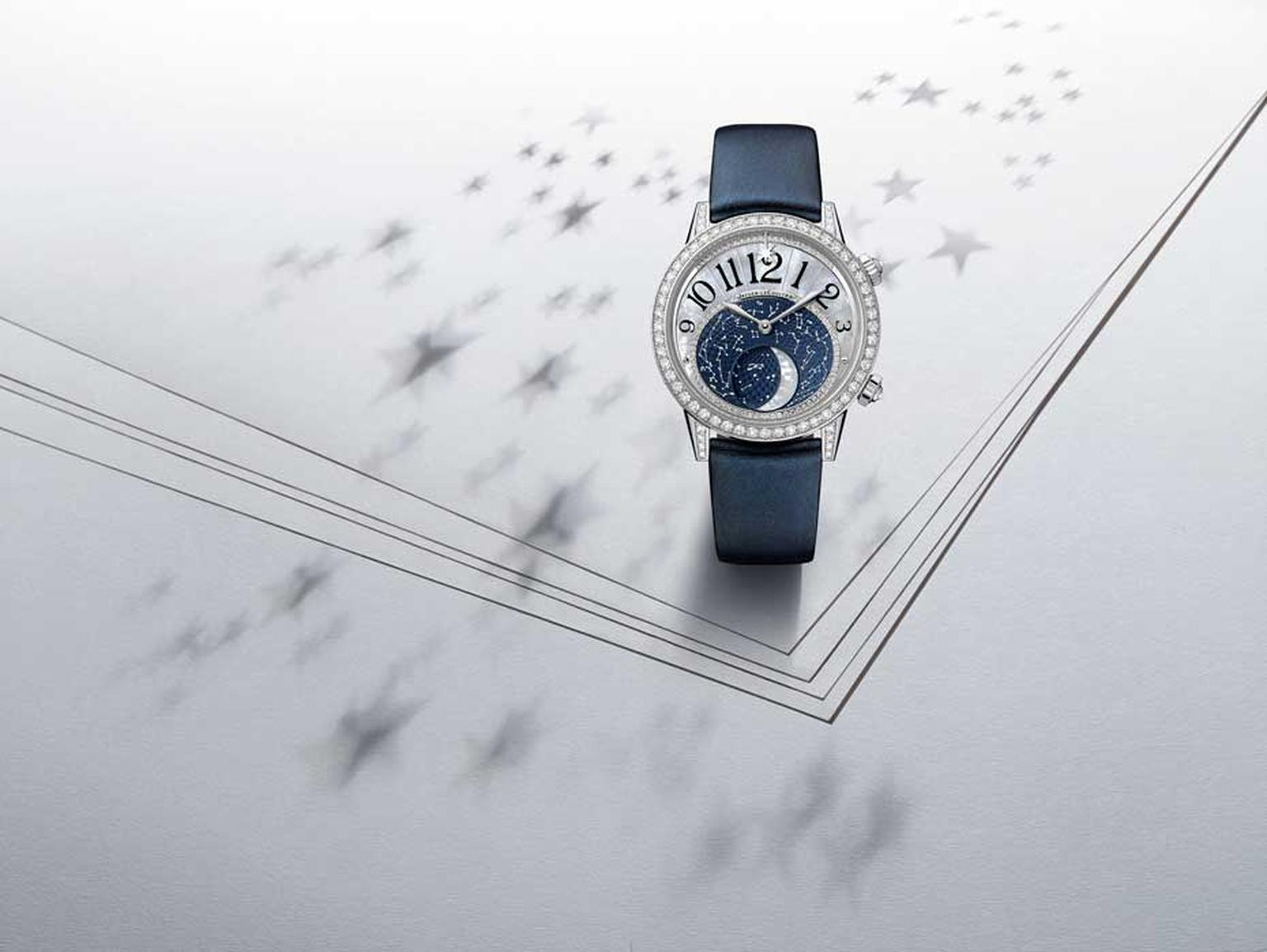Jaeger-LeCoultre Rendez-Vous Moon is presented in a white gold case in either a 36mm or 39mm diameter. The 36mm case is lit up with 166 brilliant-cut diamonds on the bezel, the 39mm version features 208 brilliant-cut diamonds and comes on a navy blue sati