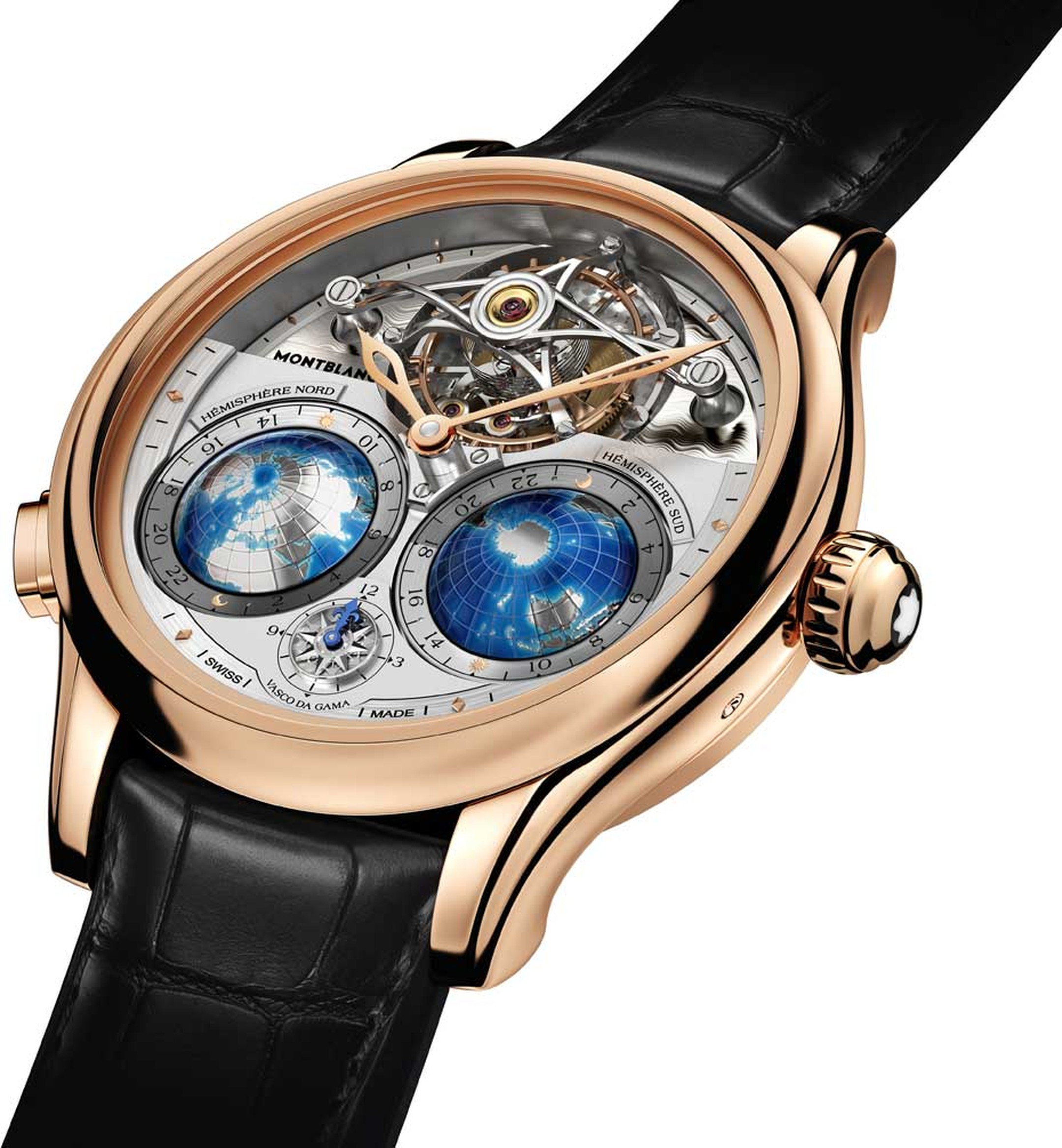 Montblanc Tourbillon Cylindrique Geosphères Vasco da Gama combines a tourbillon with a triple time zone indicator. The global world-time indication is graphically represented by the two blue globes on the dial.