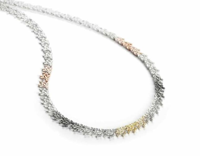 Beth Gilmour Spectra necklace in different coloured alloys of gold and silver, spotted at Rock Vault during London Fashion Week.