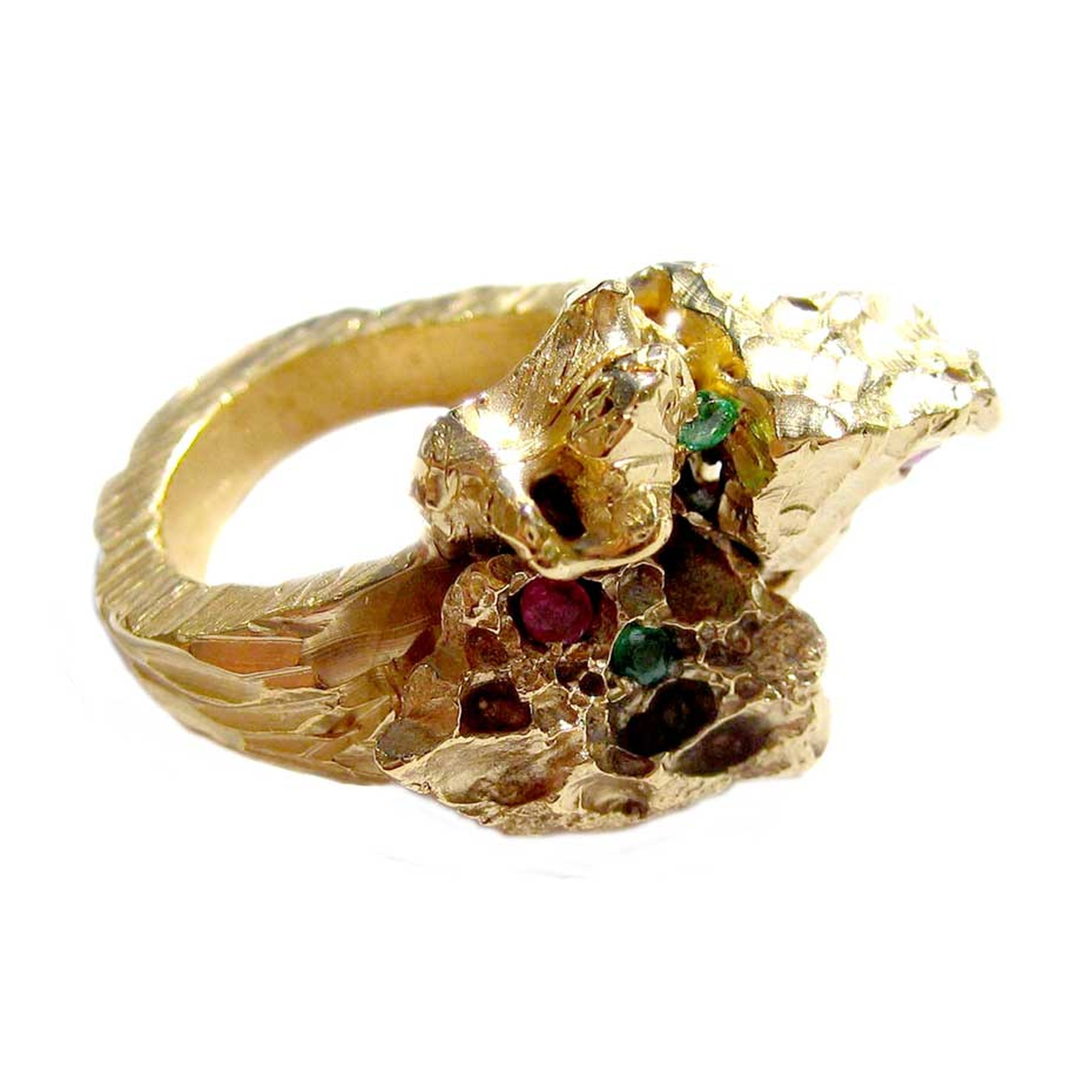 Imogen Belfield ring hand carved in yellow gold with coloured gemstones.