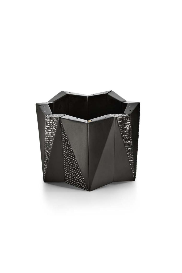 Jacqueline Cullen faceted cuff in Whitby Jet set with black diamonds.