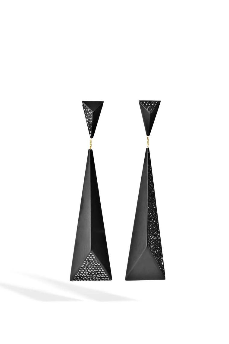 Jacqueline Cullen faceted earrings in Whitby Jet set with black diamonds.