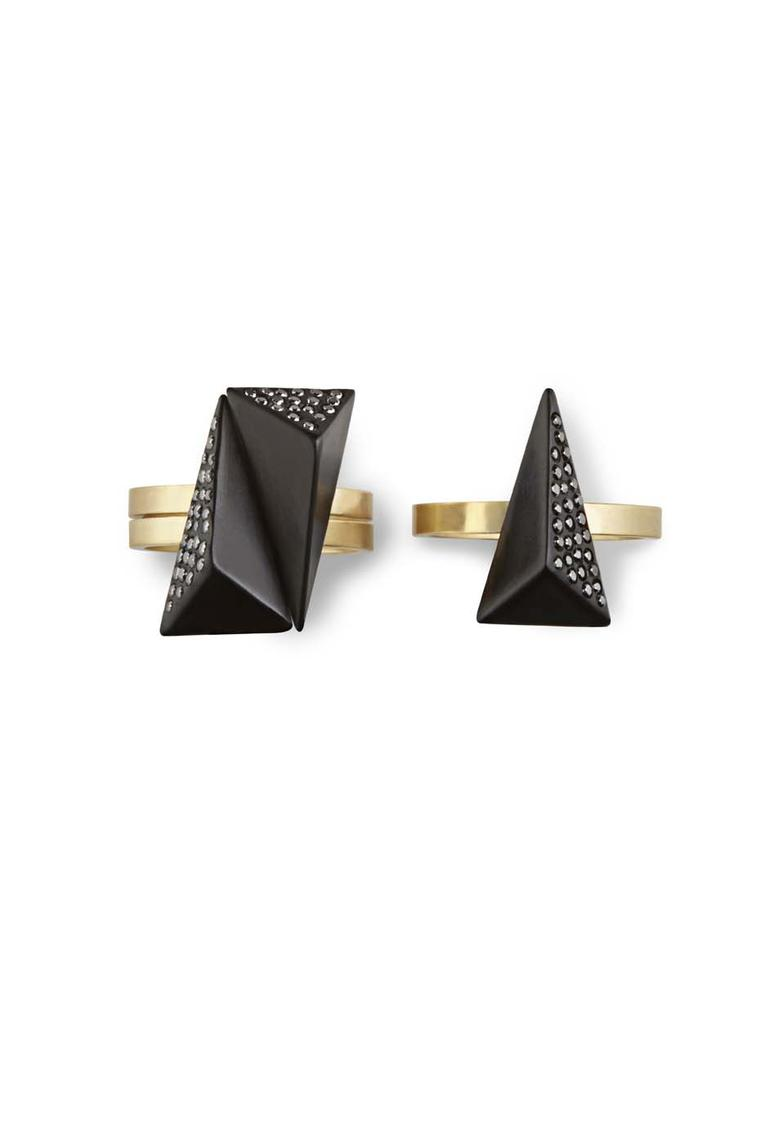 Jacqueline Cullen faceted rings in Whitby Jet set with black diamonds.