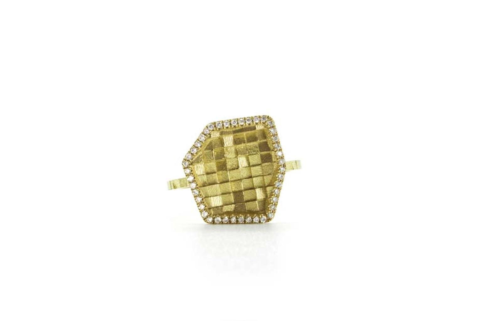 Jo Hayes Ward Stratus ring in yellow gold with white diamond edges.