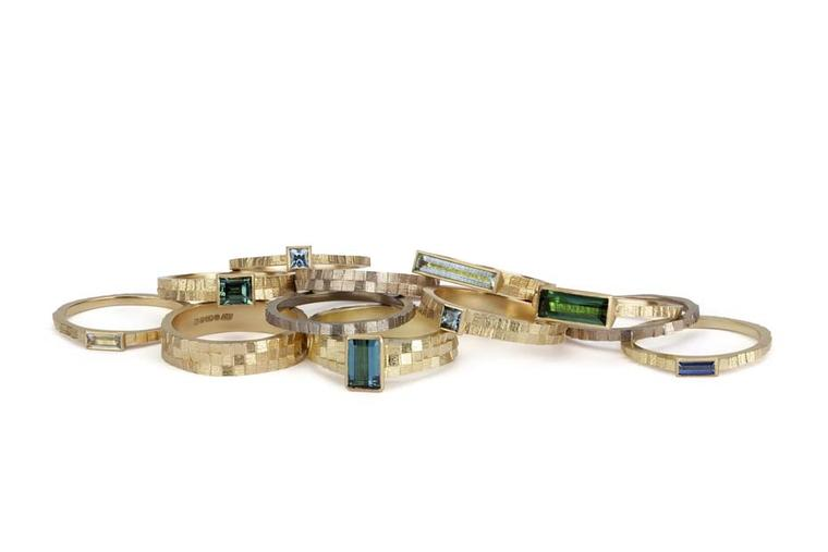 Jo Hayes Ward Square Band rings in yellow or warm white gold set with coloured gemstones including sapphire, tourmaline and aquamarine.
