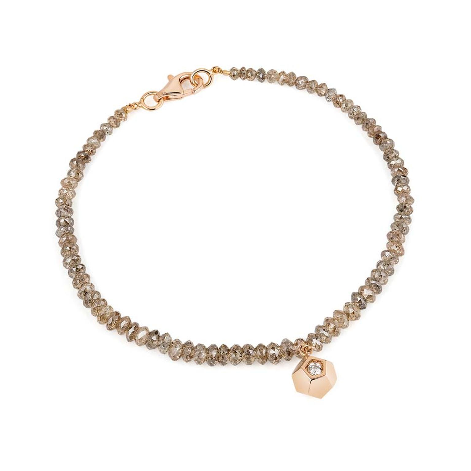 Ornella Lannuzzi 'Rock It' charm bracelet, with diamond beads and two brilliant cut diamonds set in rose gold.