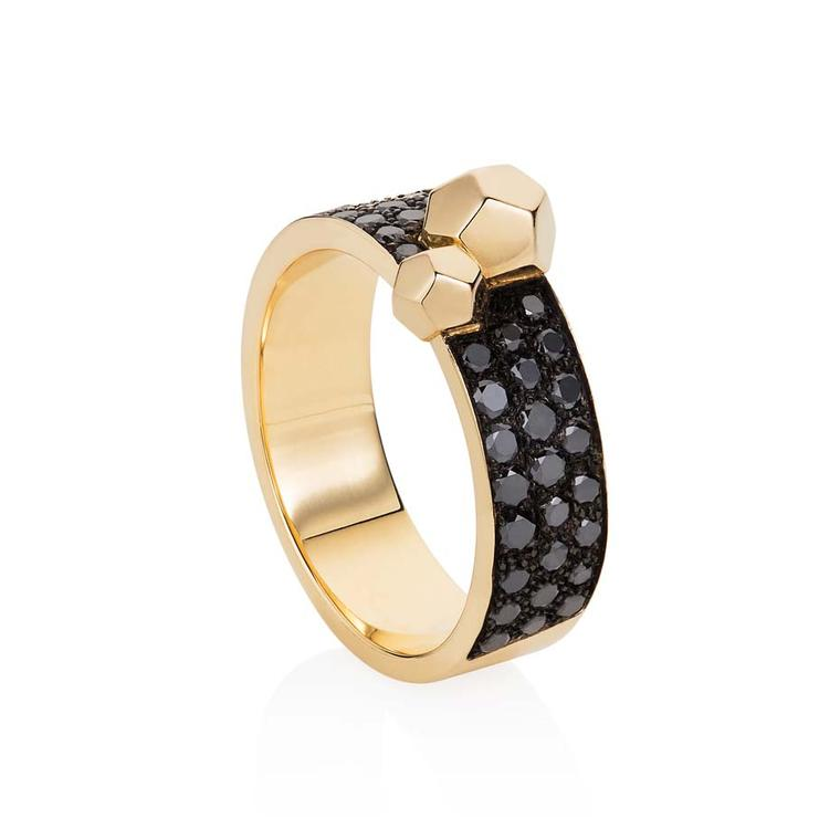 Ornella Iannuzzi 'Rock It' ring with black diamonds set in rose gold.