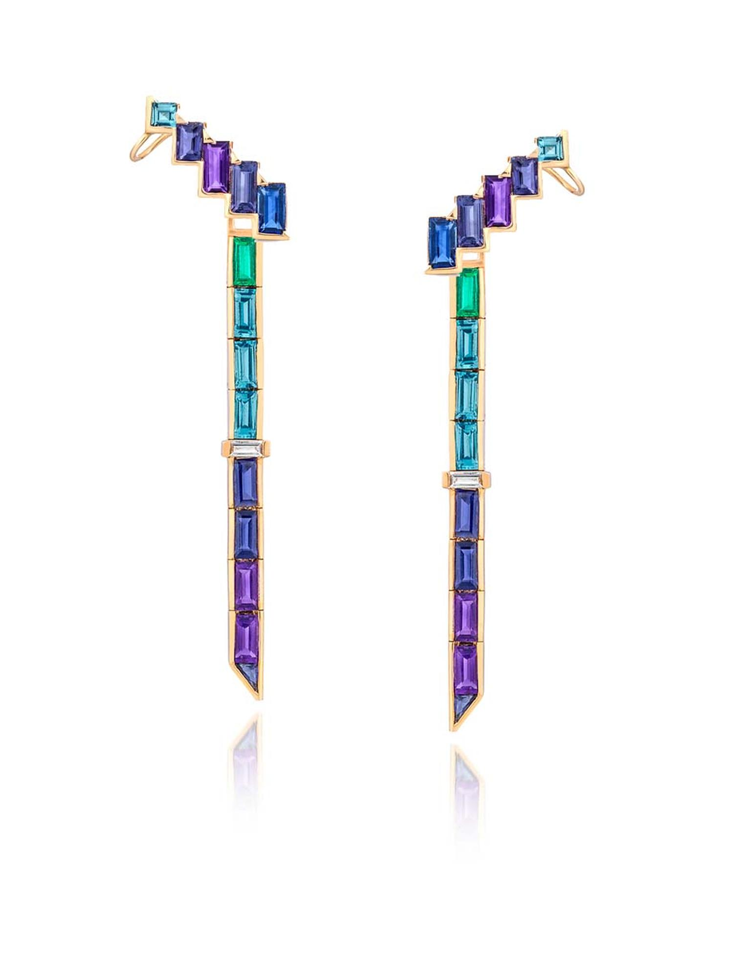 Tomasz Donocik earring cuffs with amethyst, tanzanite, blue sapphire, iolite and blue topaz, from the Electric Night collection.