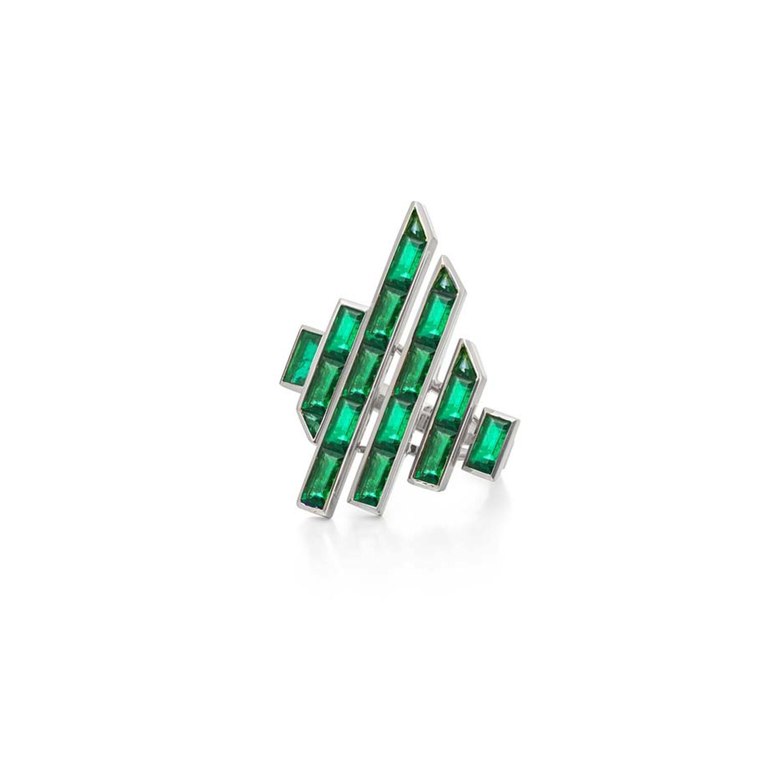Art deco style Tomasz Donocik emerald ring, from the new Electric Night collection.