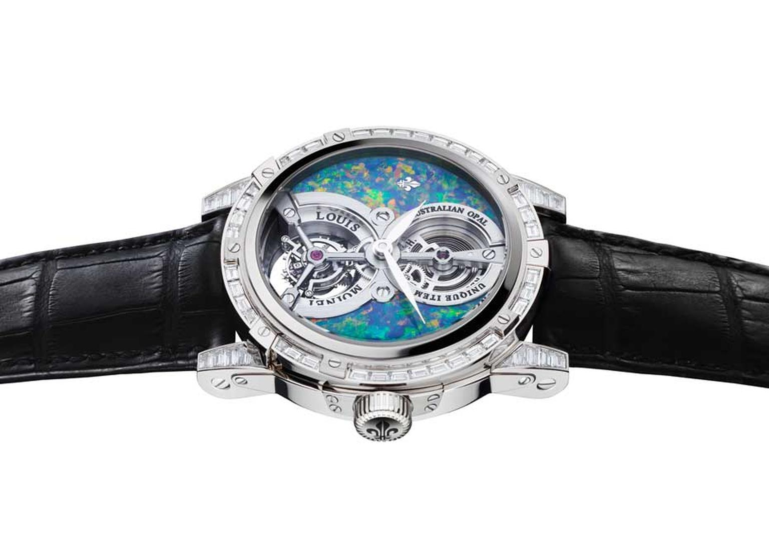 Louis Moinet opal watch from the Treasures of the World collection featuring an Australian opal dial, a tourbillon and an open-worked mainspring in a white gold 47mm case with 56 baguette-cut diamonds.
