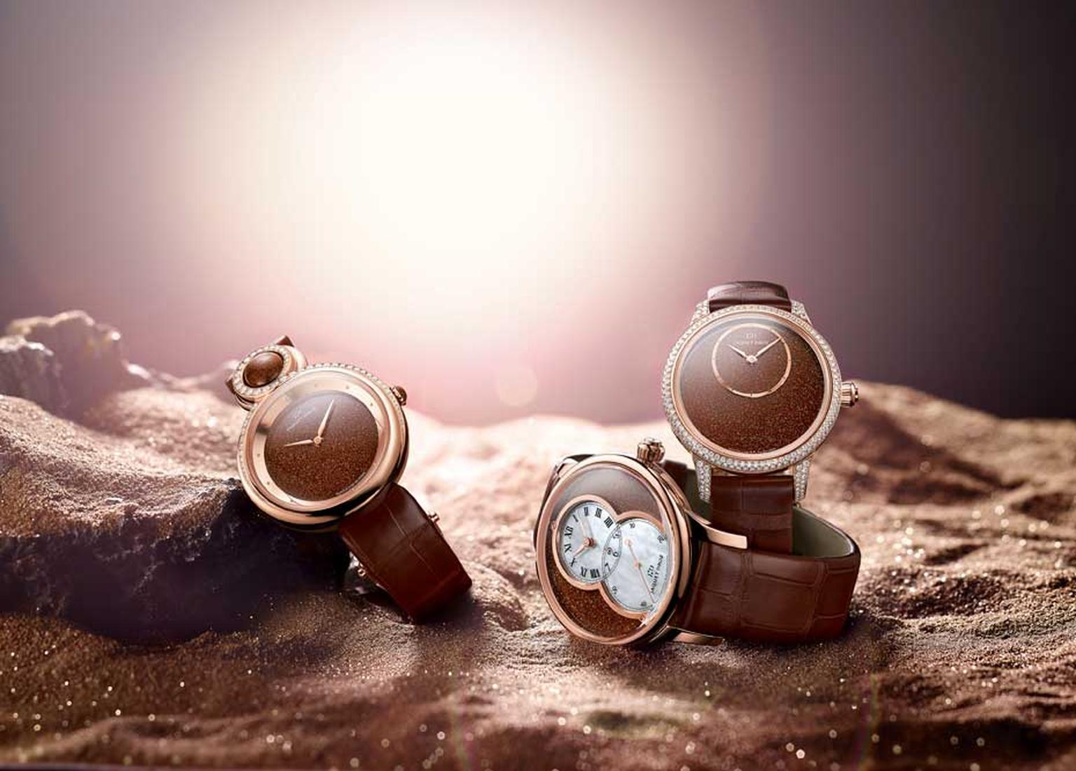 Jaquet Droz Sunstone dial watches for 2015. The beautiful gold-speckled Sunstone gets its romantic name from its spangled and glittery inclusions although its proper name is aventurine feldspar.