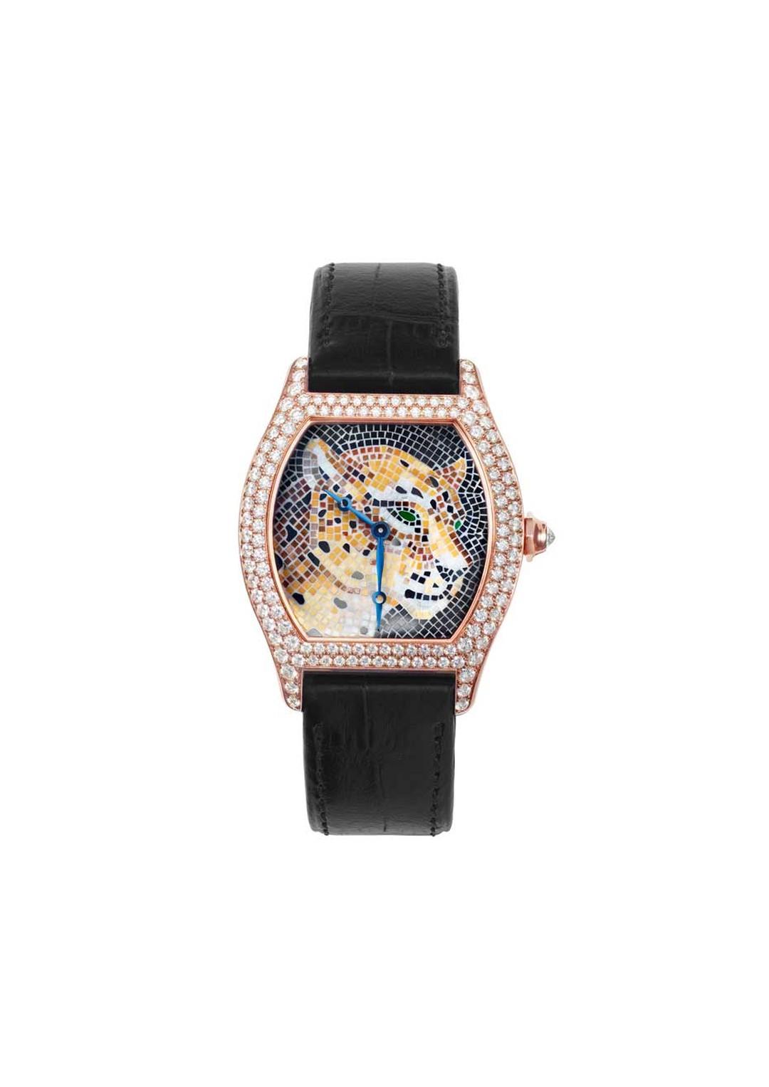 Cartier Panther Stone Mosaic motif set into a Tortue XL watch case. This limited edition of 30 watches highlights the craft of mosaics, and recreates the head of Cartier's iconic panther in mosaic tiles, with onyx mosaic tiles for the nose and spots.