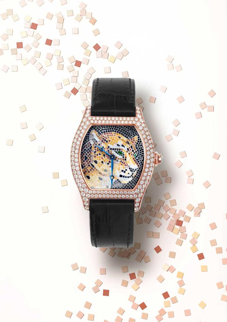 Cartier Panther Stone Mosaic motif in a Tortue XL rose gold case is set with brilliant-cut diamonds on the bezel and lugs, and displays a brilliant-cut diamond in the eight-sided crown.