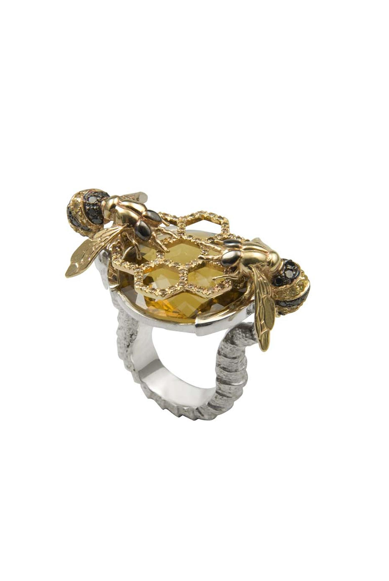 Delfina Delettrez cocktail bees ring in gold and silver with black diamonds, yellow sapphires, cognac diamonds and one cognac quartz.