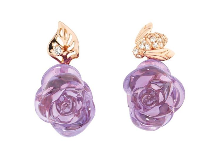 Dior Joaillerie's bee-inspired Pré Catelan earrings in pink gold with diamonds and amethyst.