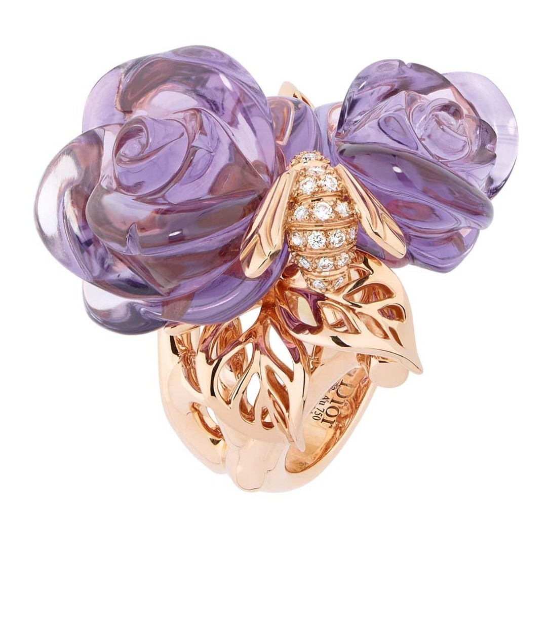 Bee-inspired Pré Catelan ring in pink gold with diamonds and amethyst by Dior Joaillerie.
