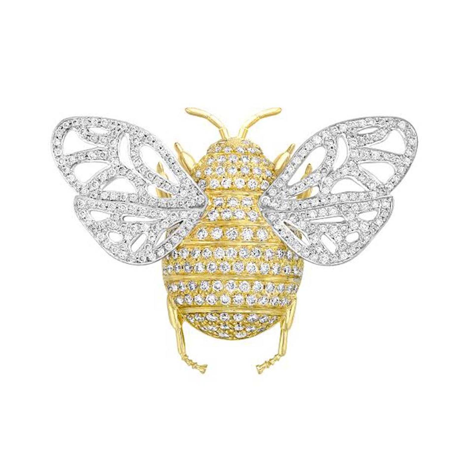 Pavé diamond bee brooch by Theo Fennell that can also be worn as a pendant in 18ct white and yellow gold set with 1.04ct of diamonds.
