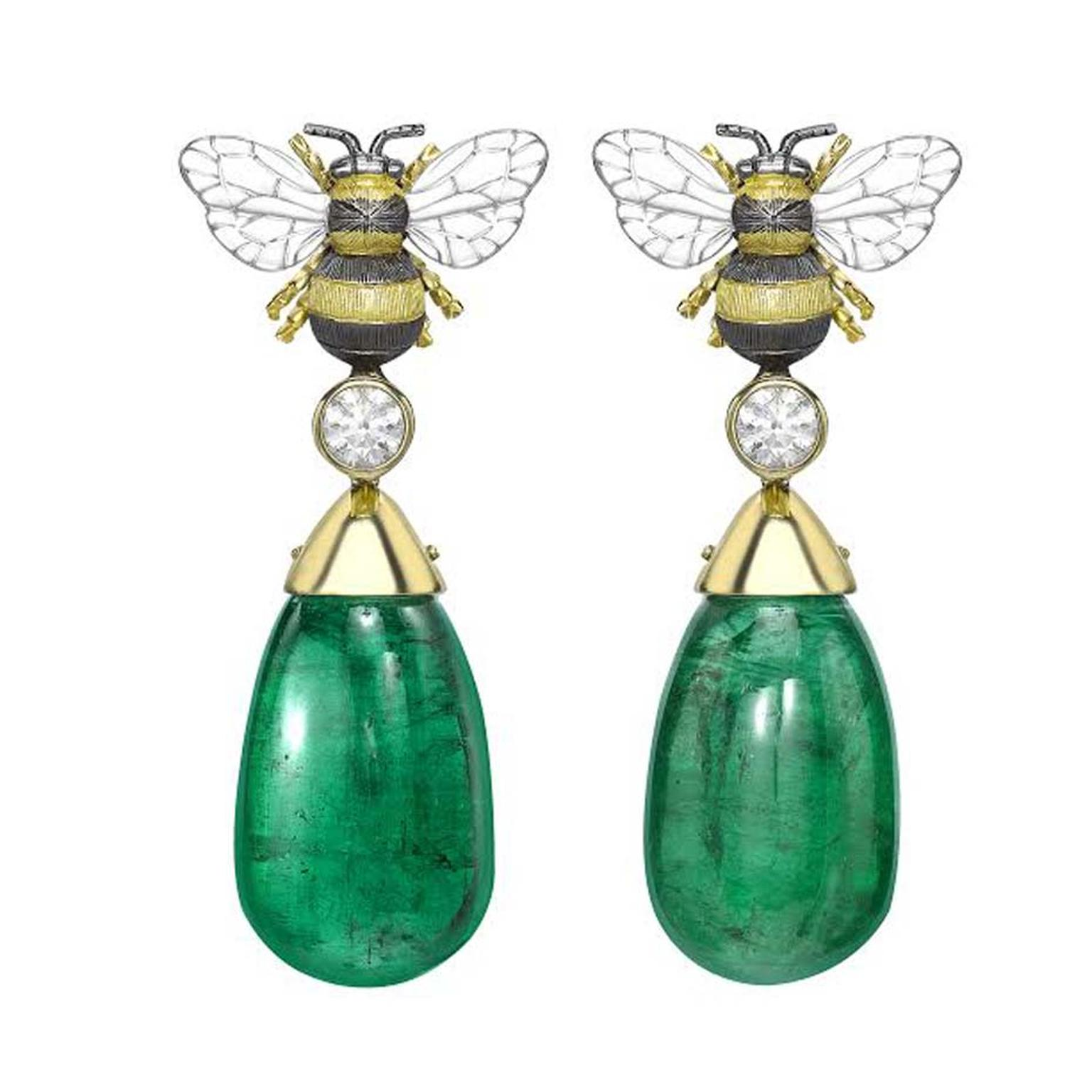 Theo Fennell Gemfields Emerald Bee Drop earrings in 18ct yellow gold with Gemfields Zambian emeralds and white diamonds.