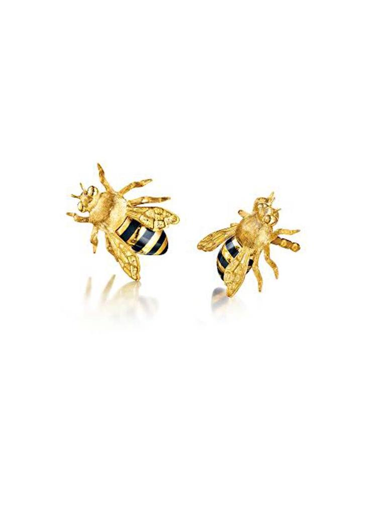 Verdura showcases bees beautifully with its Honeybee earrings in 18ct yellow gold and black enamel.