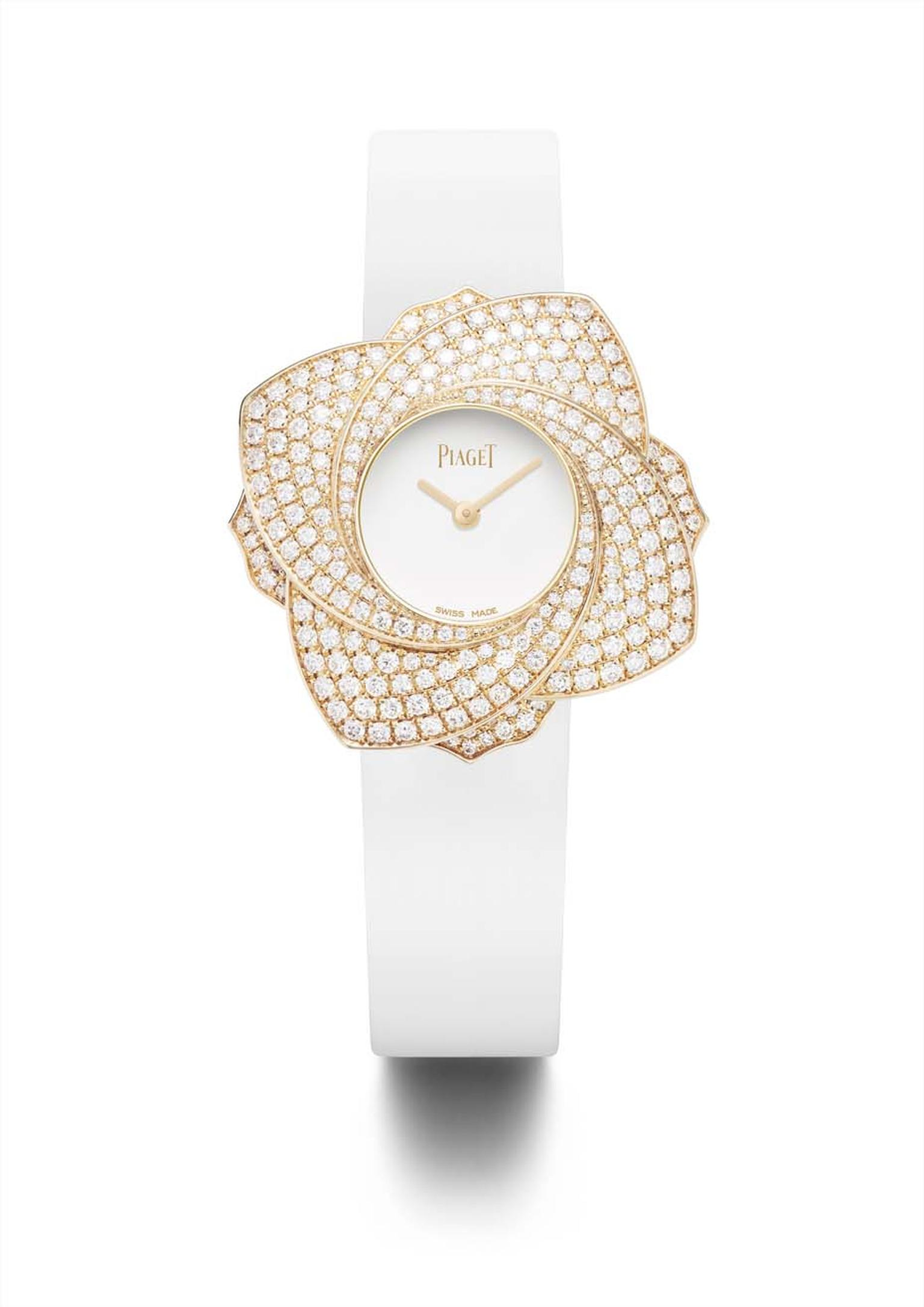 Piaget Limelight Blooming Rose is an elegant high jewellery ladies' watch with a marvellous twist. Featuring a unique swivelling bezel, the wearer can choose whether to show four or six petals.