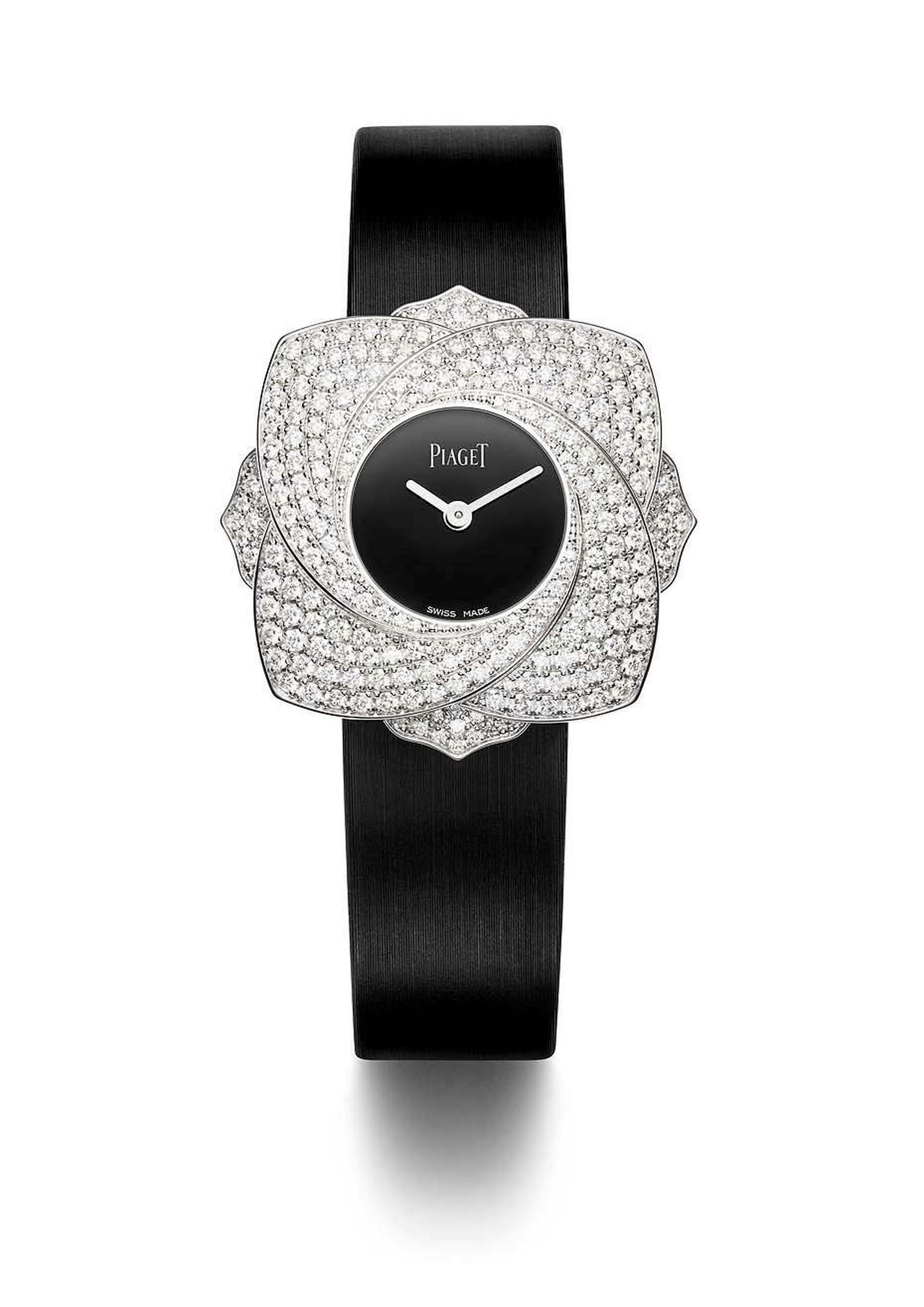 The petals of the rose on Piaget's Limelight Blooming Rose watch are set with 256 diamonds totalling 2.50ct.