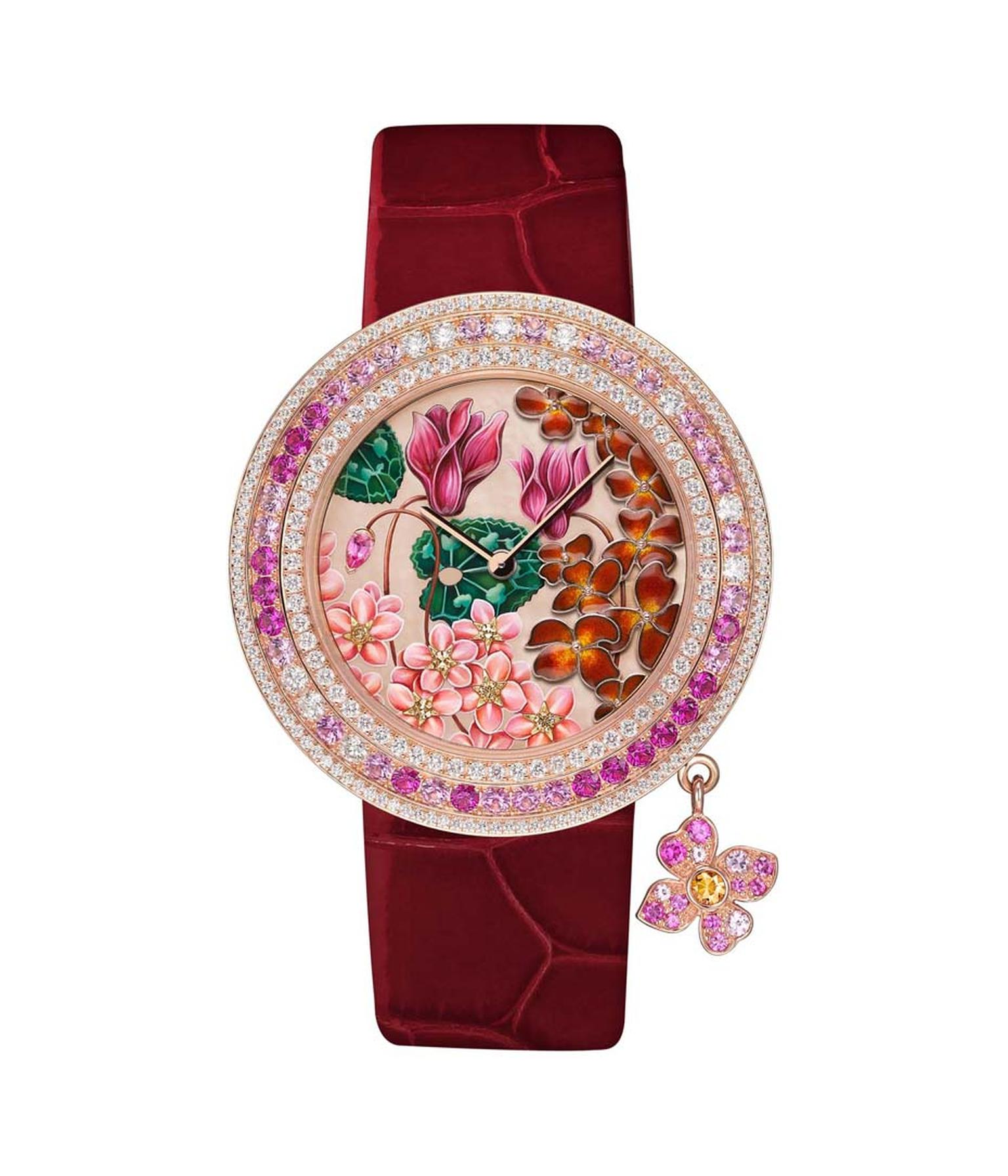 Van Cleef & Arpels Amour watch, from the Charms collection, is decorated with cyclamens, wallflowers and forget-me-nots, and is said to symbolise memory, beauty and lasting sentiments - a most appropriate message for Mother's Day.