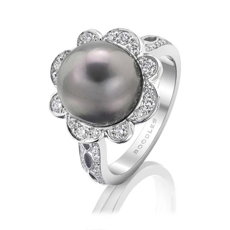 Boodles diamond and Tahitian pearl ring in white gold with pavé diamonds.