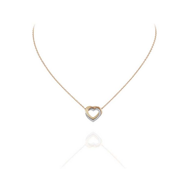 Trinity de Cartier heart necklace in rose, yellow and white gold with diamonds.