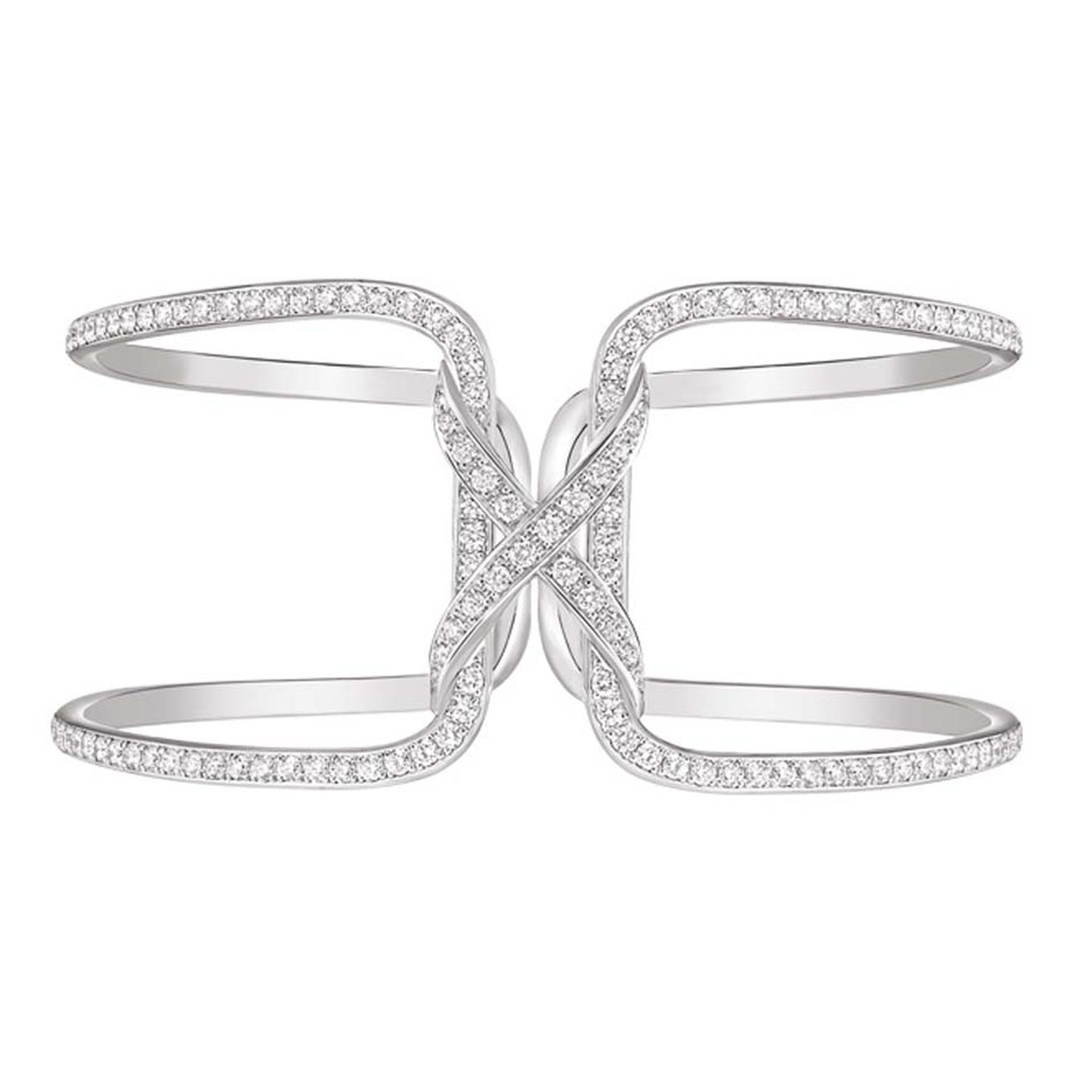 Chaumet Liens cuff in rhodium-plated white gold, set with 228 brilliant-cut diamonds.
