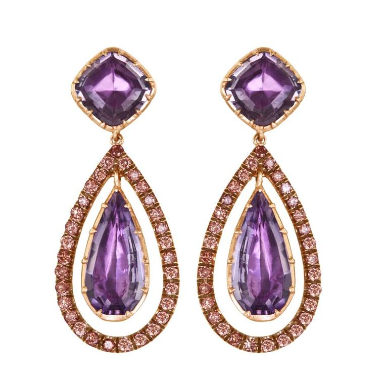 Larkspur & Hawk Caprice Wren amethyst earrings in rose gold with rose foil and diamonds ($7,500).