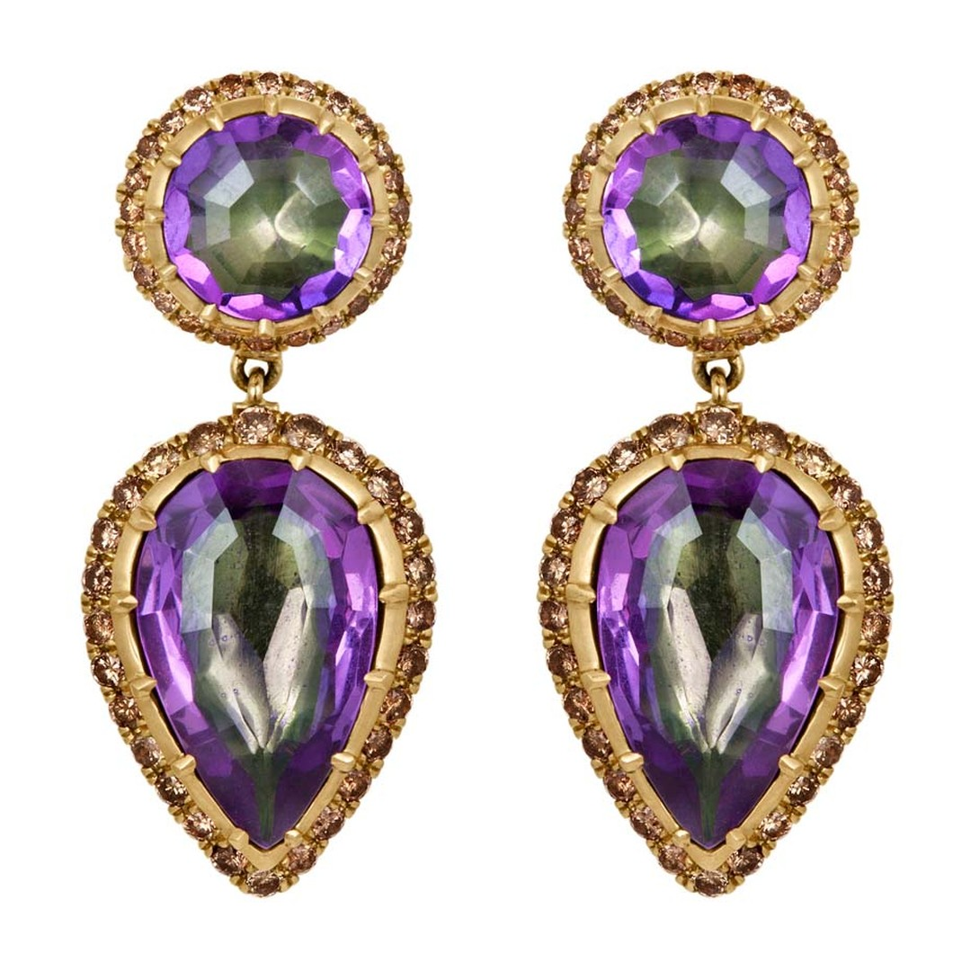 Larkspur & Hawk Caprice Wren amethyst earrings in rose gold with Verbena foil and diamonds ($9,900).