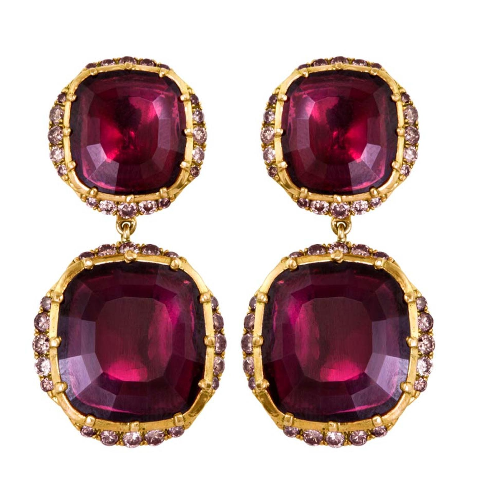 Larkspur & Hawk Caprice Wren two-drop garnet earrings in rose gold with rose gold foil and diamonds ($12,900).