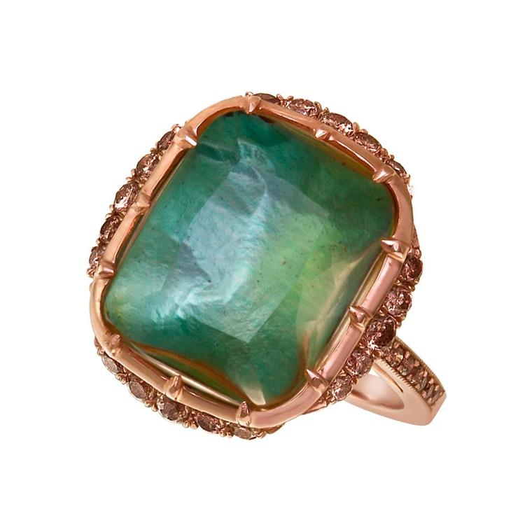 Larkspur & Hawk Caprice Wren golden citrine ring in rose gold with mint foil and diamonds ($5,600).