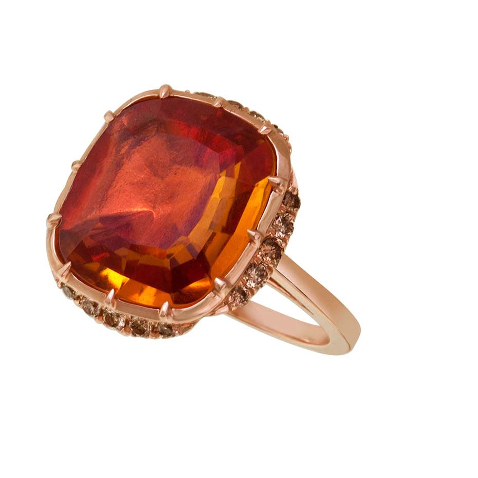 Larkspur & Hawk Caprice Wren honey citrine ring in rose gold with rose foil and diamonds ($5,400).