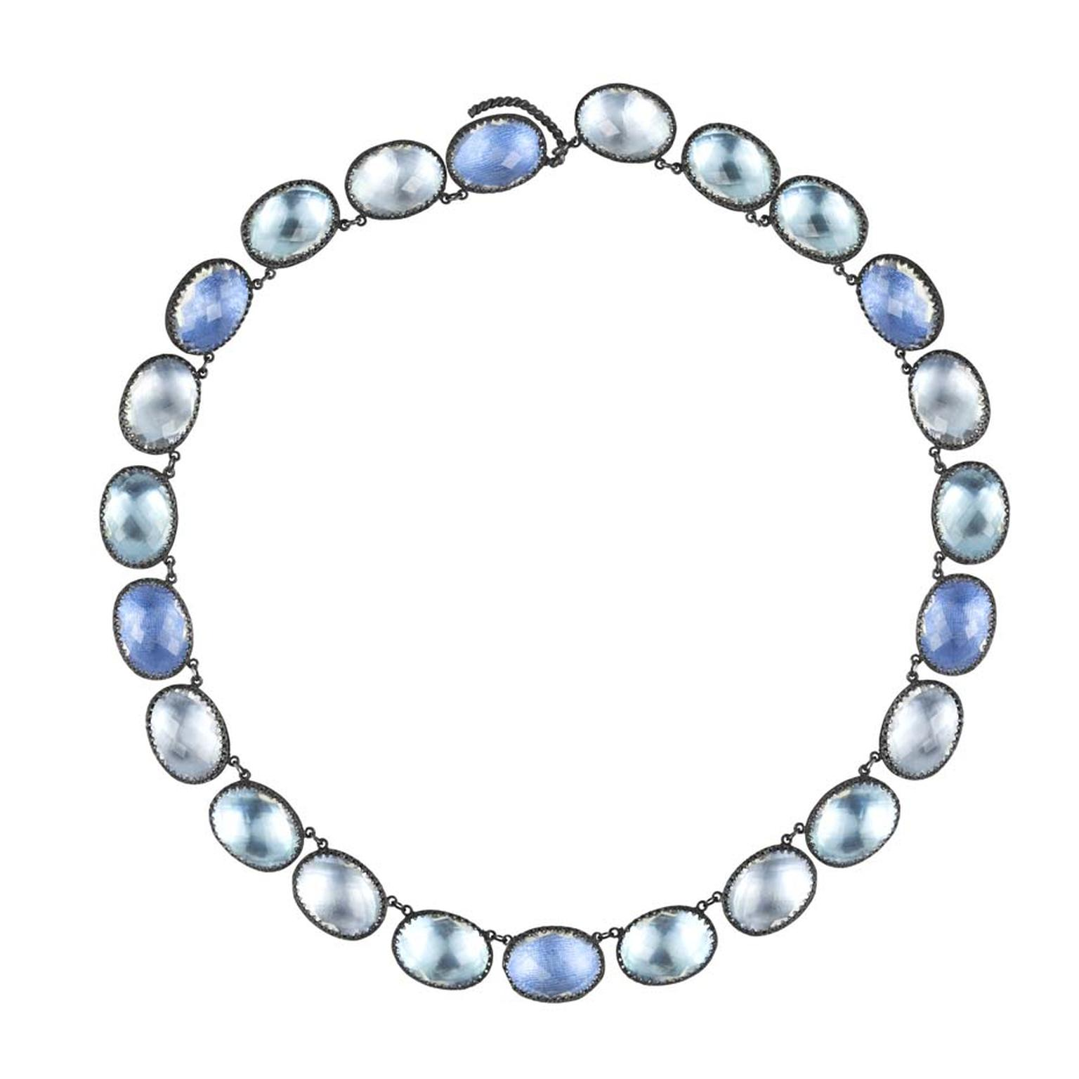 Larkspur & Hawk Lily Rivière-style white topaz necklace in oxidized silver with ice, azure and sky foils ($5,000).